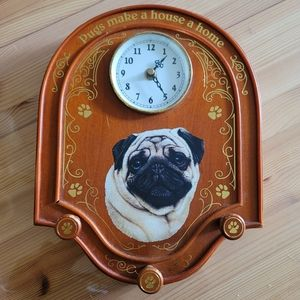 Danbury Mint Pug Clock & Leash Holder